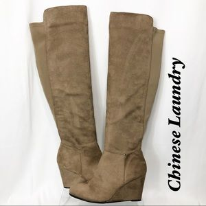 Chinese Laundry Tan Over Knee Wedge Boot 8